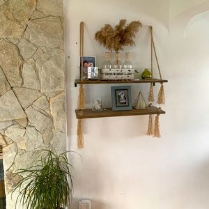 Rustic Boho shelf set with jute tassels